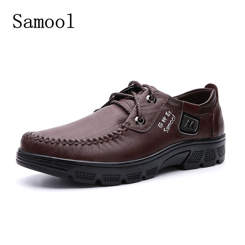 Autumn Business men dress shoes high quality boat shoes dress Men Genuine Leather Casual Shoes Single Oxford Shoes Big Size37-46