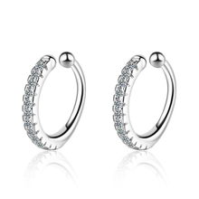 Fashion 925 Sterling Silver Earrings For Women Charm Single Row Full Zircon Clip Earring Girl Valentines Day Accessories Gifts