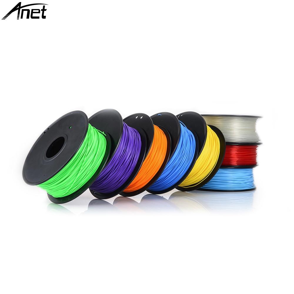 10 pièces Anet PLA Filament 3D Imprimante Filament 1Kg/bobine ABS PLA Filament 1.75mm tige en plastique En Caoutchouc coloré
