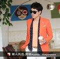Тонкий bleiser masculino Корея 2017 новый мужской Slim Корейской небольшой мужчины пиджак Британский сингл orange прилив blaser masculino