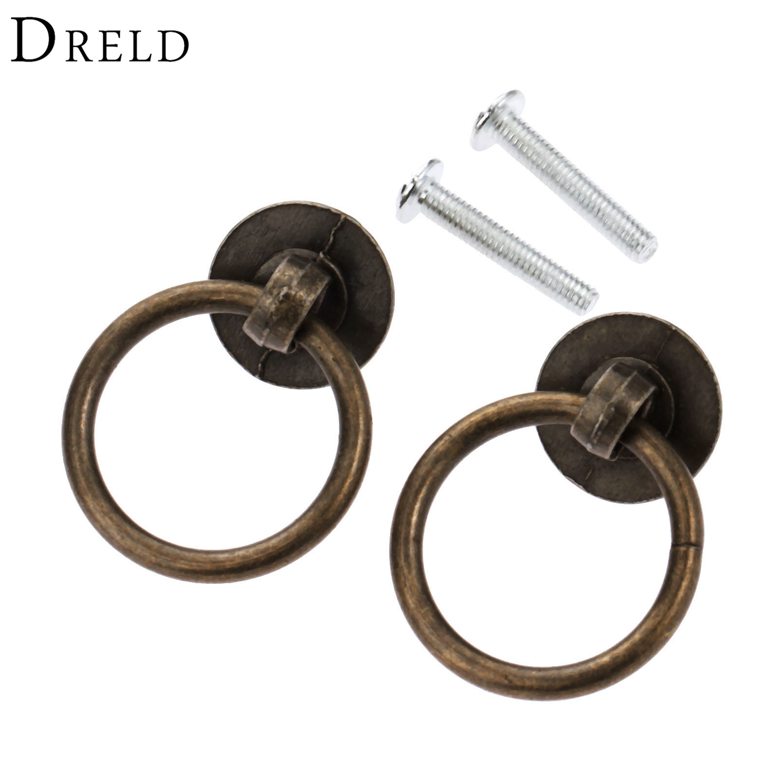 DRELD 2Pcs Vintage Furniture Handle Kitchen Cabinets Pull Handle Knobs Drawer Wardrobe Cupboard Door Ring Bronze Tone 40*30mm 1 pair 96mm vintage furniture cupboard wardrobe handles and knobs antique bronze alloy kitchen cabinet door drawer pull handle