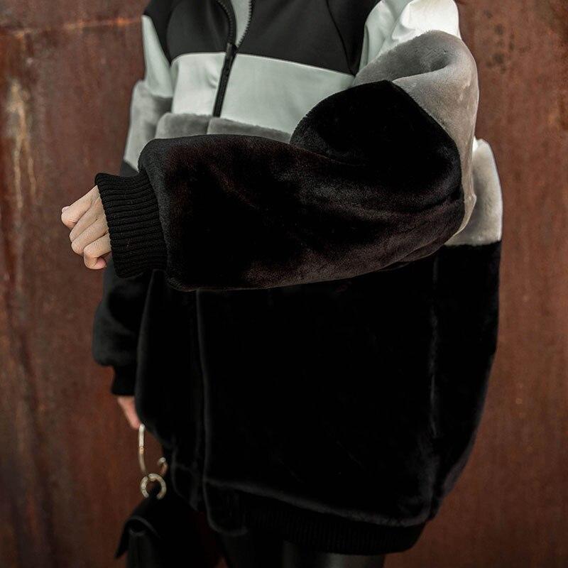 Add Survêtement Rembourré Chaud Manteau Mode Fourrure 2018 Dt0271 D'hiver black Baseball Cotton Uniforme Black Veste Splice Nouvelle Femmes Imitation 8qOFTRxw