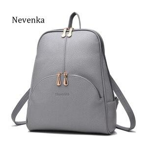 Image 2 - Nevenka Mini Backpack Women Light Weight Daypacks Girls Fashion Backpacks Ladies Leather School Bag Female Gray Backpack Black