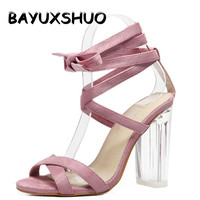 Women Sandals Pink Ankle Strap Perspex High Heels Clear Crystal Concise Strappy Lace Up Pumps High