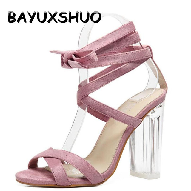 7e5362a59f2 BAYUXSHUO Women Sandals Ankle Strap Perspex High Heels Clear Crystal  Concise Strappy Lace Up Pumps High Quality Rome Shoes Woman