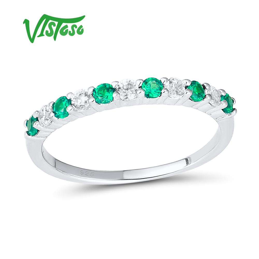 VISTOSO Silver Ring For Women Natural Green Spinel Shimmering Wish Ring Genuine 100% 925 Sterling Silver Fashion Fine JewelryVISTOSO Silver Ring For Women Natural Green Spinel Shimmering Wish Ring Genuine 100% 925 Sterling Silver Fashion Fine Jewelry
