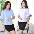 Primavera verão 2015 nova elegante Formal de trabalho de negócios ternos blusas e saia fêmeas uniformes escritório Ladies Clothing definir Plus Size