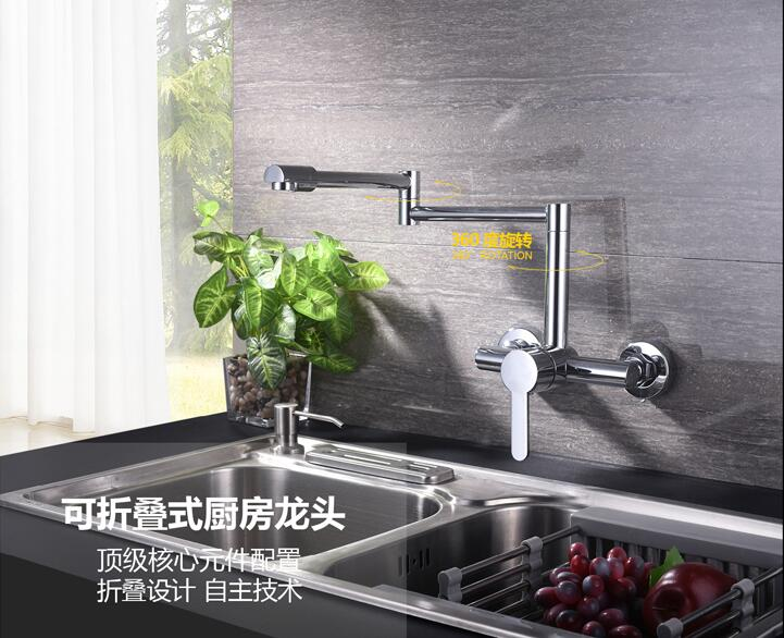 Into the wall kitchen faucet Brass Scalable Rotary Stretch Folding Vegetable basin faucet Hot and cold Sink Taps Mixer torneira bathroom faucet into the wall cold and hot water taps embedded type mixer double handles table basin wash basin faucet torneira