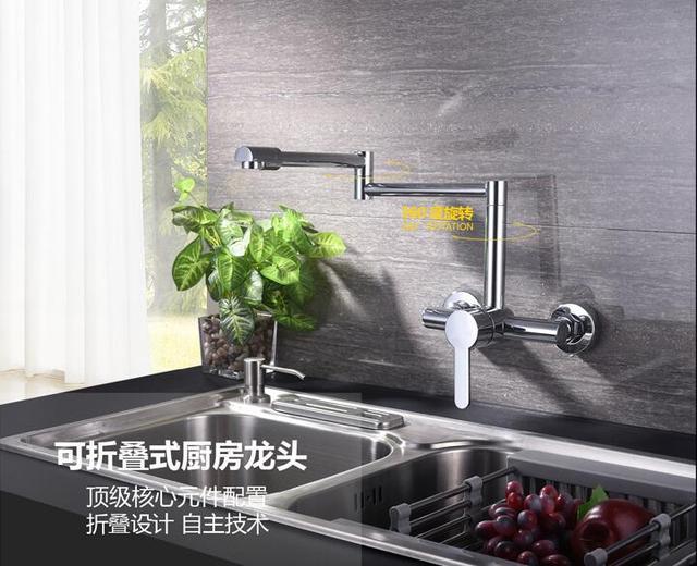 US $70.39 12% di SCONTO Nel muro della cucina rubinetto In Ottone Scalabile  Rotary Stretch Pieghevole Verdura rubinetto del bacino Caldo e freddo ...
