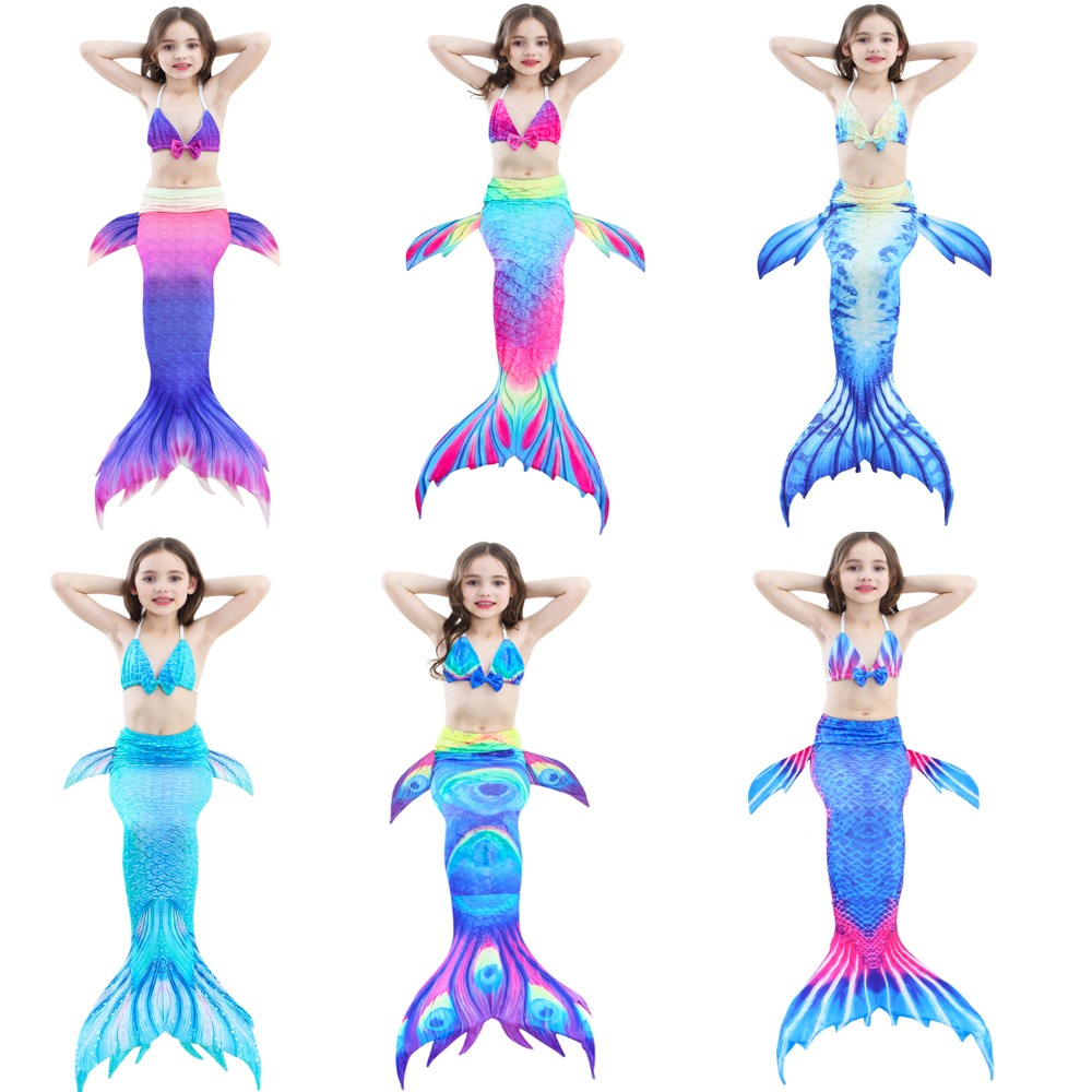 New 2018 Mermaid 3pcs Set Tops Bottoms Mermaid Tail For Swimming Children Girls Summer Swimming Dress Bikinis Bathing