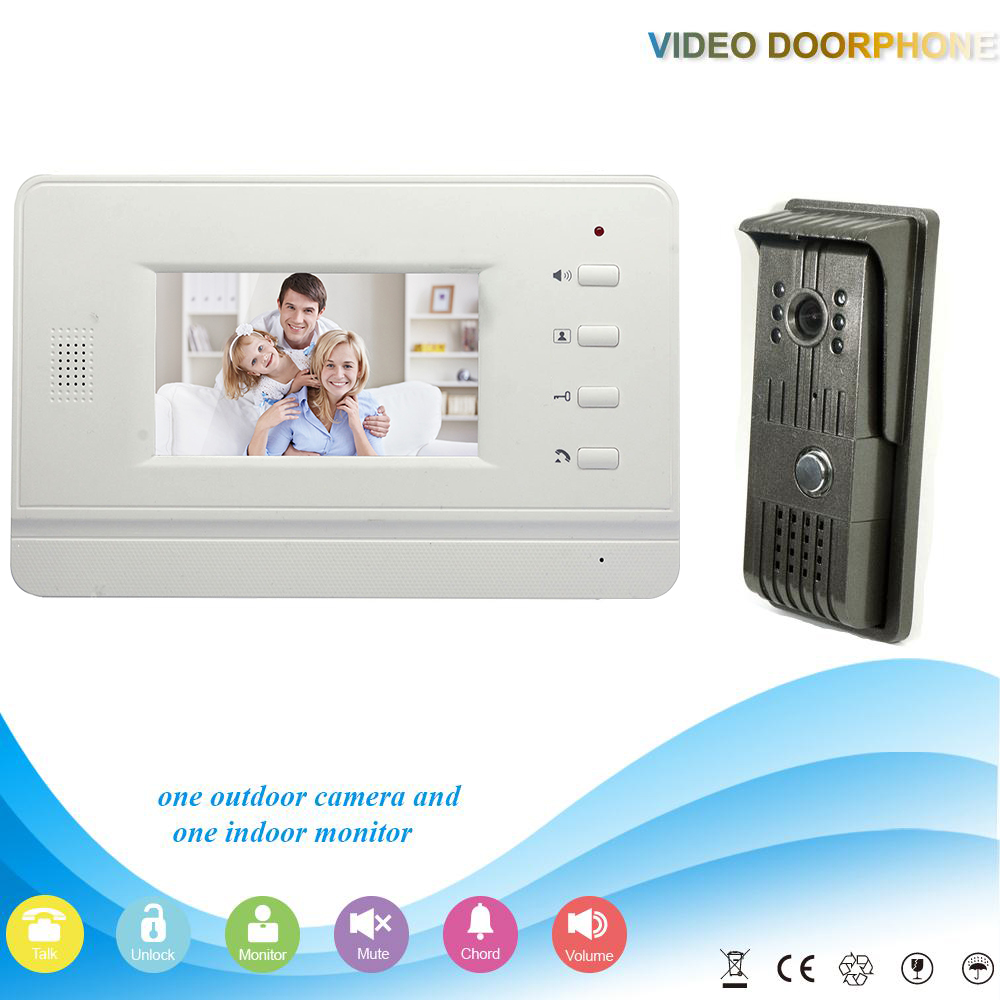 ФОТО -V43B3-F 1V1 2016 Hot selling 4.3 Inch security Intercom system Video Door Phone work with electronic lock Intercom System