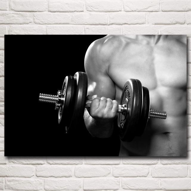 Dumbbell bodybuilding fitness sports art silk poster gym room wall