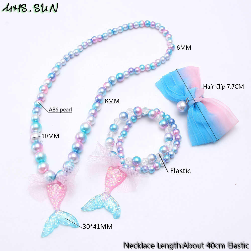 MHS.SUN girls pearl beads necklace & bracelets fashion mermaid tail pendant baby kids bowknot hair clip elastic jewelry set gift