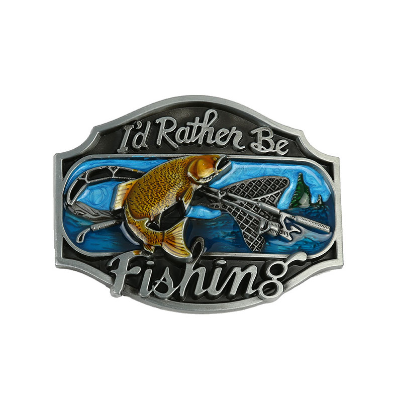 T-Disom I'd Rather Be Fishing Belt Buckle Men's Western Belt Buckles Suit For Belt Drop Shopping