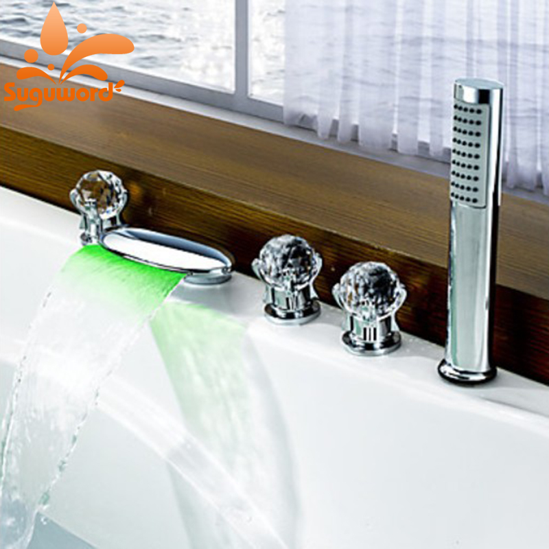 все цены на LED Light Waterfall Spout Bathtub 5pcs Faucet 3 Knobs Mixer Tap with Handheld Shower Head онлайн