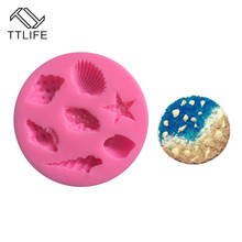 TTLIFE Conch Shell Starfish Silicone Mold Marine Life Fondant Cake Decorating DIY Tools Chocolate Dessert Stencil Baking Moulds