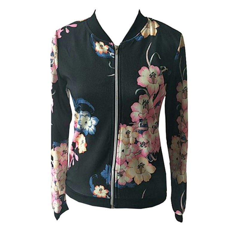 Bigsweety Fashion Floral Print Coat Women   Jackets   And Coats Long Sleeve Casual Slim Fit   Jacket   Zipper   Basic   Outerwear Coats