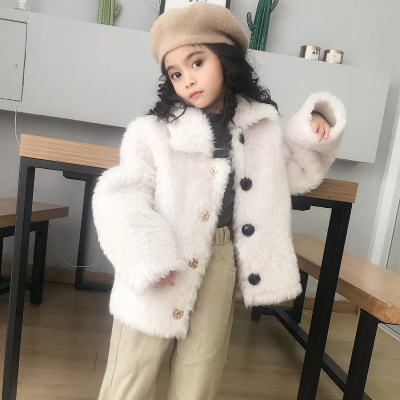 JKP 2018 Winter New Children's Kids Lapel Particles Wool Leather Fur Coat Jacket Short Boy and Girl Real Coat ZPC-278 цены