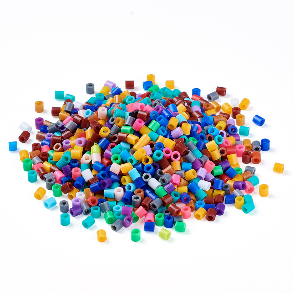 About 8000pcs/lot Mixed Color Pe Diy Fuse Hama Beads Refills For Kids 5x5mm Gift For Children Tube Hole: 3mm