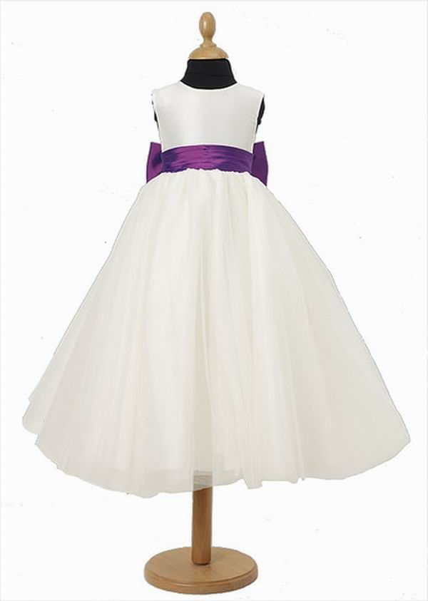Best On Sale Princess Scoop Short White Flower Girl Dress With A