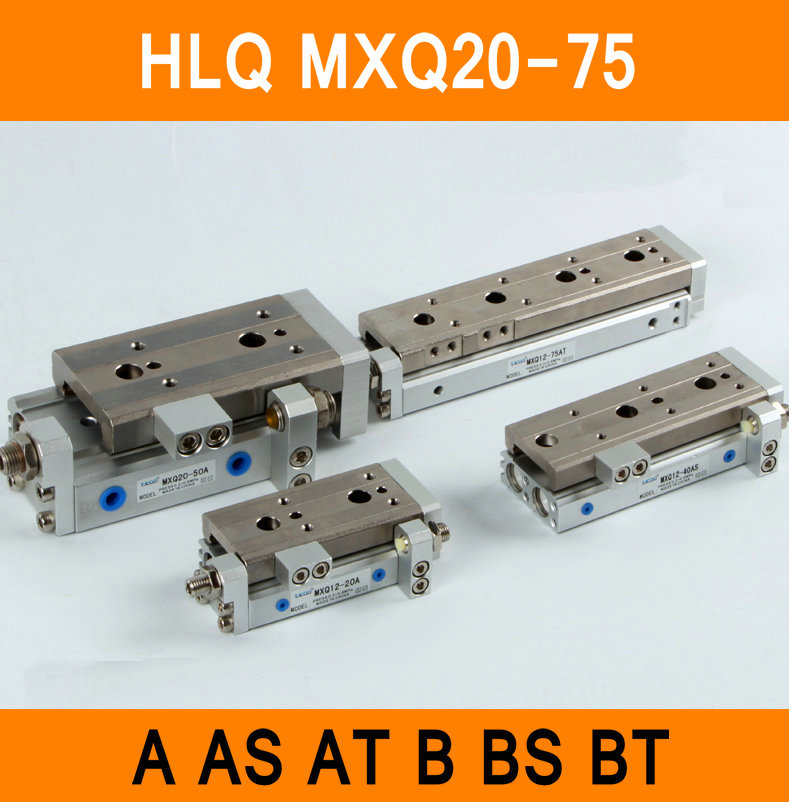 HLQ MXQ20-75 SMC Type MXQ series Pneumatic Cylinder MXQ20-75A 75AS 75AT 75B Air Slide Table Double Acting 20mm Bore 75mm Stroke high quality double acting pneumatic gripper mhy2 25d smc type 180 degree angular style air cylinder aluminium clamps