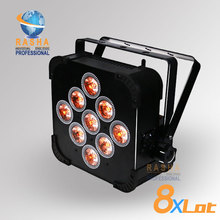 8X Rasha Hex V9 9pcs 10W 4in1 RGBA RGBW Battery Powered Wireless LED Flat Par Can