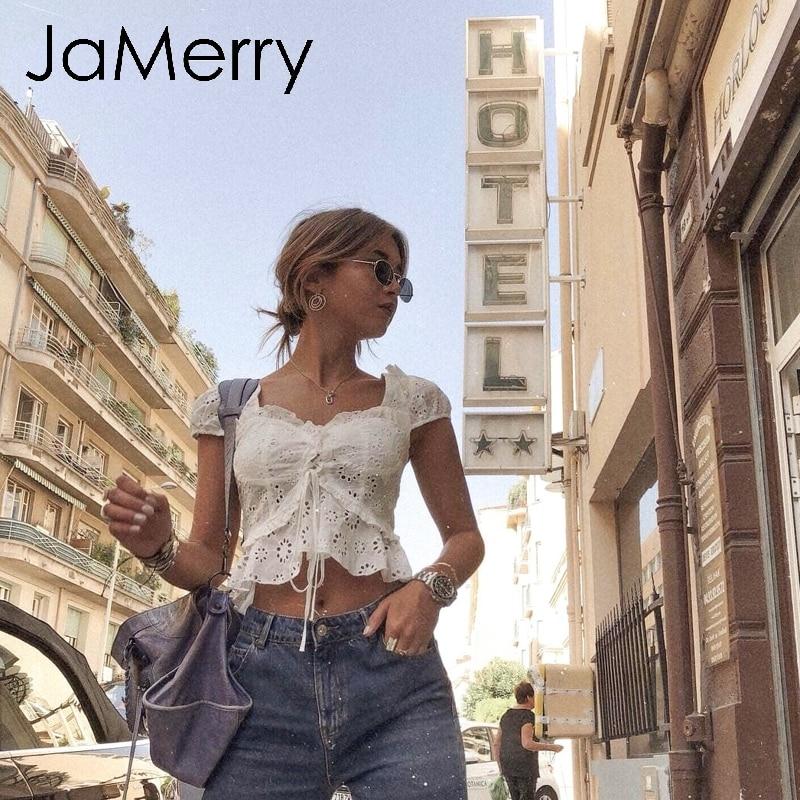 JaMerry Boho white lace women blouse shirt Ruffled hollow out blouse tops woman Back lace up fashion streetwear blouse lady top