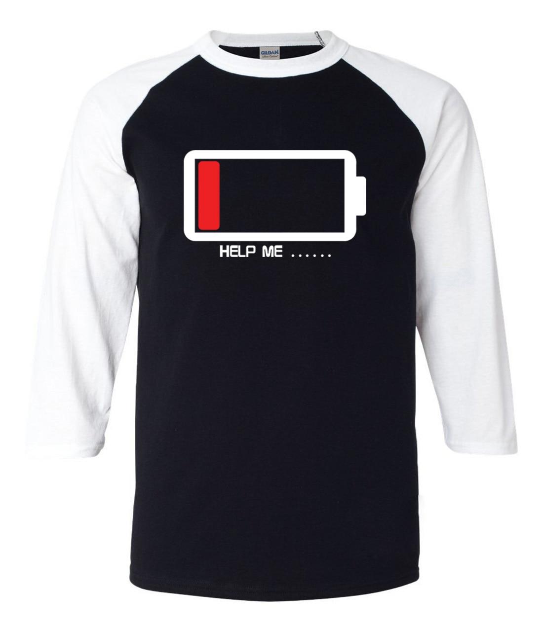 T shirt design help - Creative Battery Design Help Me Letters 3 4 Sleeve T Shirt Men 2017 Summer New