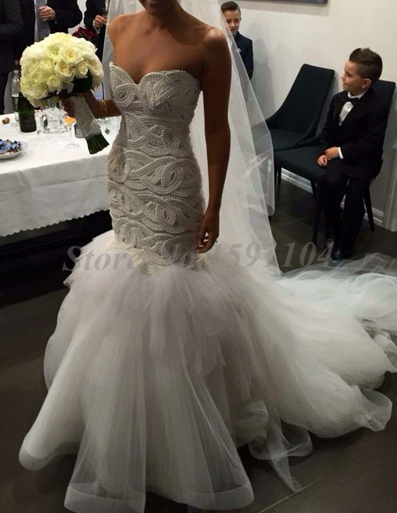 b667acfe5bc3 Sexy Tulle Mermaid Wedding Dresses Luxury Heavy Pearls Wedding Gowns  Delicate Sweetheart Open Back Bridal Gowns 2016 Hot Sale-in Wedding Dresses  from ...