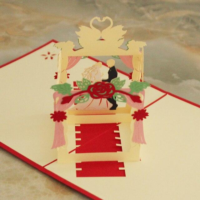 Anniversario Matrimonio Auguri Romantici : 10 pezzi lottp spedizione gratuita 3d pop up sala delle nozze