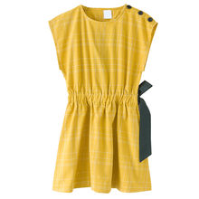 6f7fab9ce0bde Enfants et grands filles d été moutarde coton casual flare robes enfants  fille de mode mignon arc partie robe vêtements 3 à 12 a.