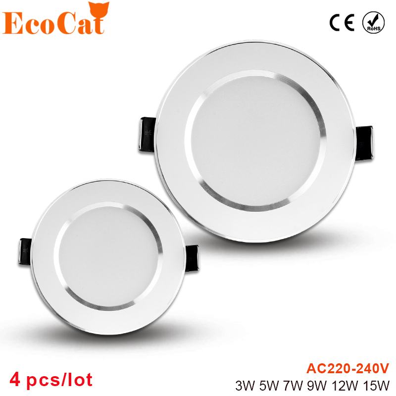 4PCS LED Down light 220V 3W 5W 7W 9W 12W 15W AC 220V LED panel light for living room cold warm4PCS LED Down light 220V 3W 5W 7W 9W 12W 15W AC 220V LED panel light for living room cold warm
