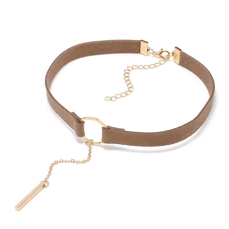 HTB1EBnXOXXXXXaRaXXXq6xXFXXXG Punk Leather Collar Necklace With Geometric Pendant
