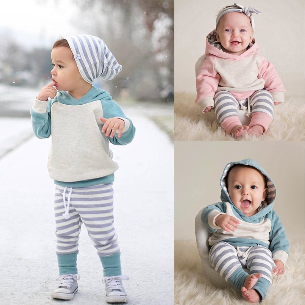 74f0d20cc2cd 3Pcs Infant Toddler Kids Baby Boys Girls Clothes Long Sleeve Hoodie Tops  Sweatsuit Pants Outfit Set Newborn Clothing Suit ~ Super Deal May 2019