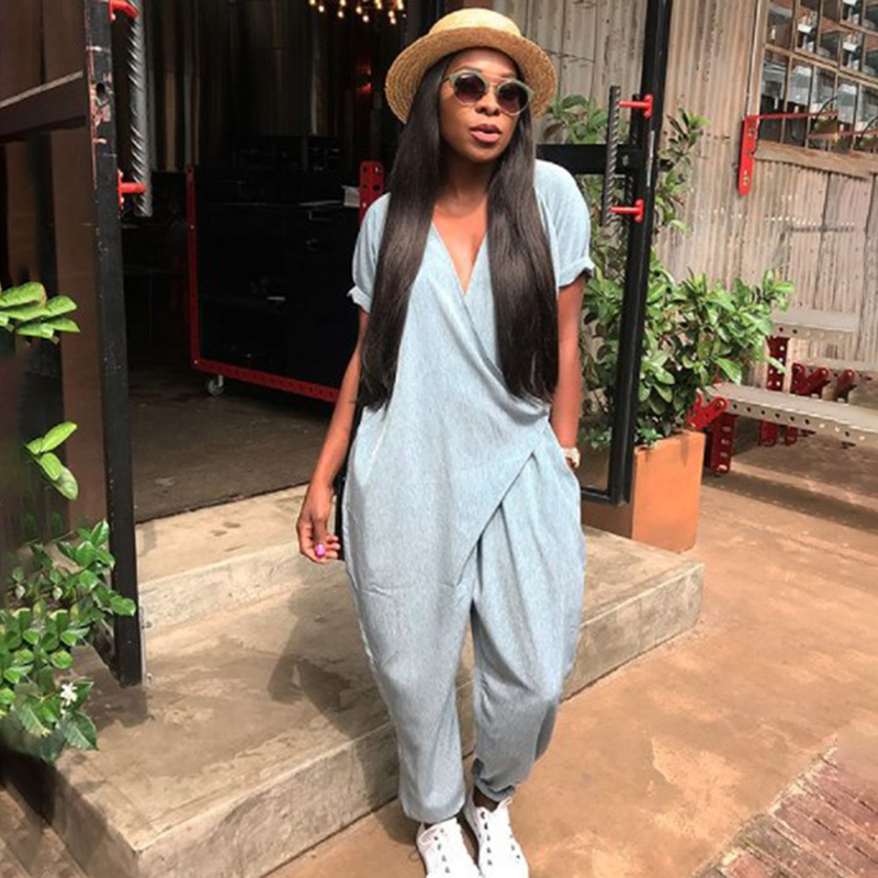 Summer Rompers Woman   Jumpsuits   Fashion Solid V Neck Loose Sexy Women Playsuits Casual Women   Jumpsuit   Overalls Plus Size