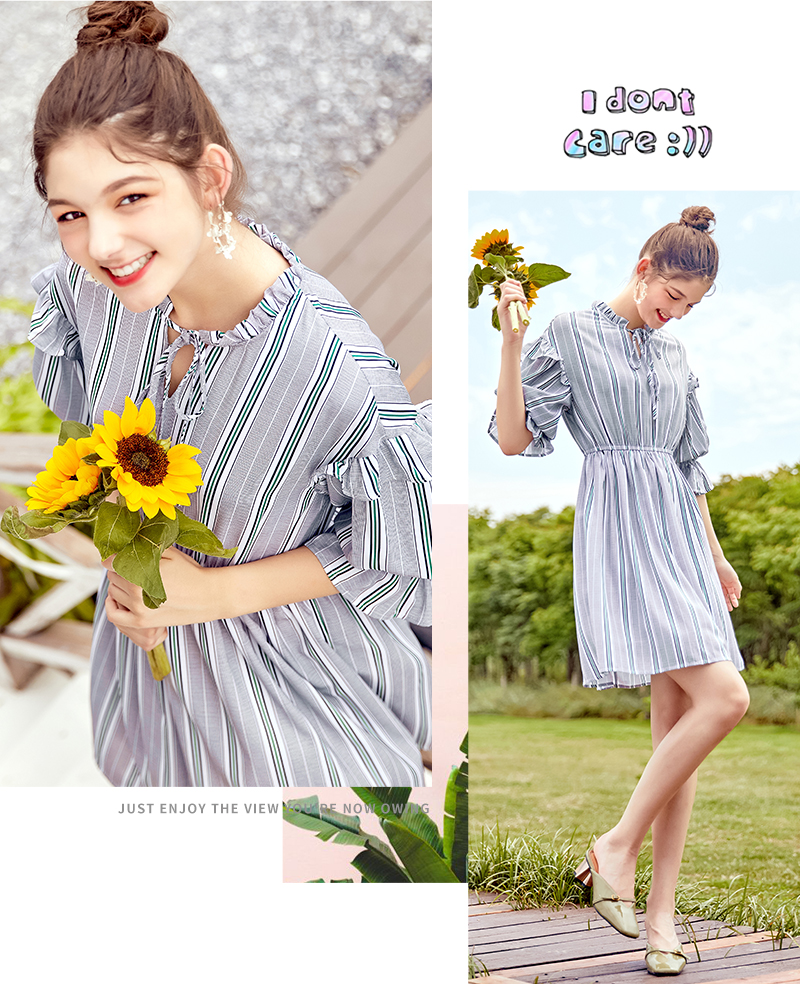 SEMIR women dress female 2018 autumn new retro striped dress loose thin dresses long flare sleeves clothing for woman 36
