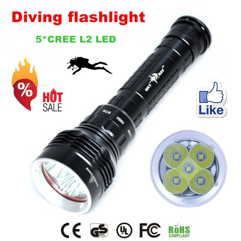 2015 DX5 diving flashlight CREE XM-L2 8000LM waterproof torch underwater 100M led flashlight for 26650 battery led flashlight 3800 lumens cree xm l t6 5 modes led tactical flashlight torch waterproof lamp torch hunting flash light lantern for camping z93