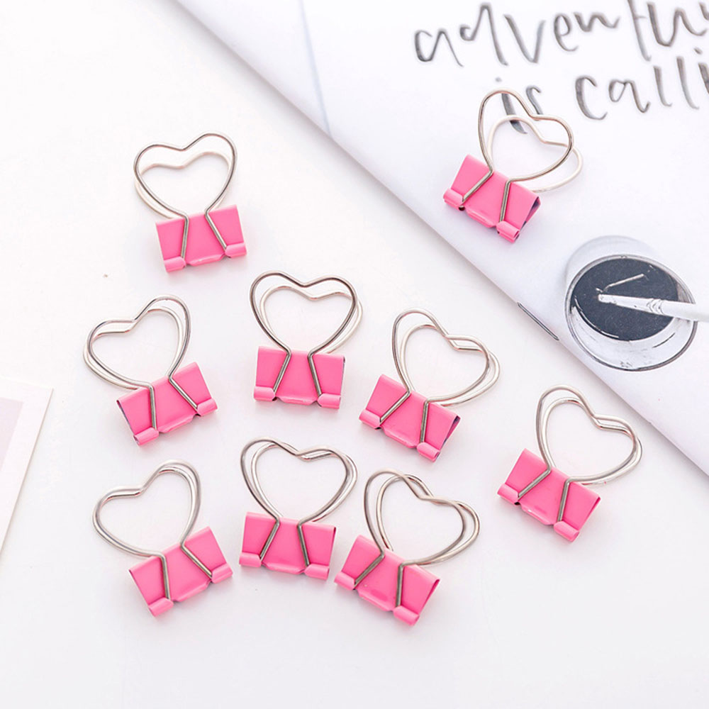 5 Pcs/lot Pink Clip Heart Hollow Out Metal Binder Clips Notes Letter Paper Clip Office Supplie