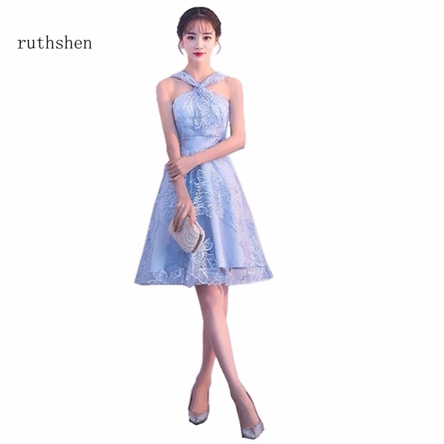 5e6e08af1c9 ruthshen 2018 Charming Halter Prom Dress Vestido Coctel Corto Sleeveless  Cocktail Party Dress Short Formal Homecoming Dress 2018