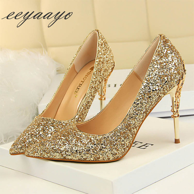 2019 New Spring Women Pumps High Thin Heels Pointed Toe Metal Decoration Sexy Bling Bridal Wedding Women Shoes Gold High Heels 2