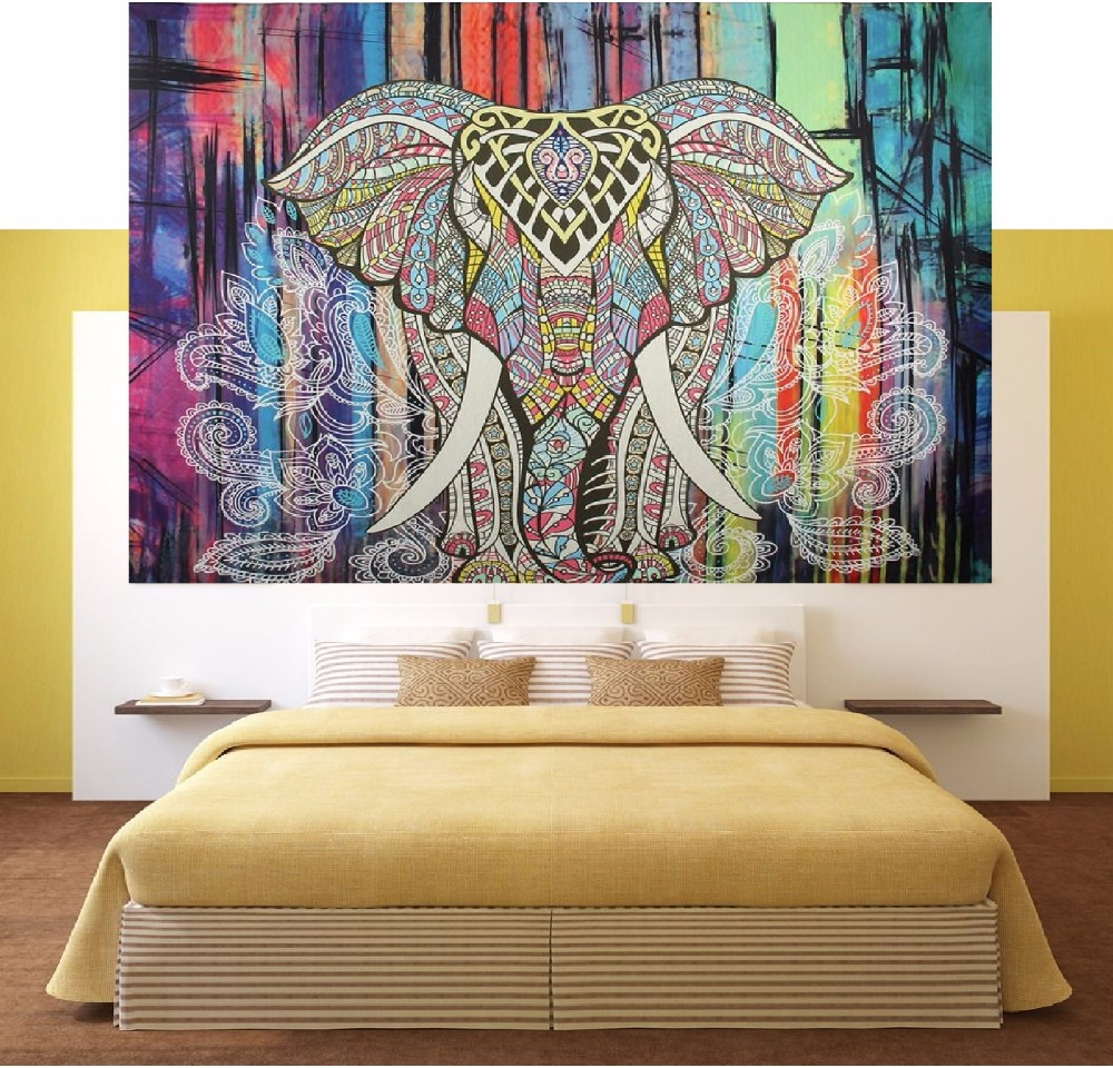 CAMMITEVER Lotus Star Sky Castle Elephant Mandala gobelēna sienas - Mājas tekstils
