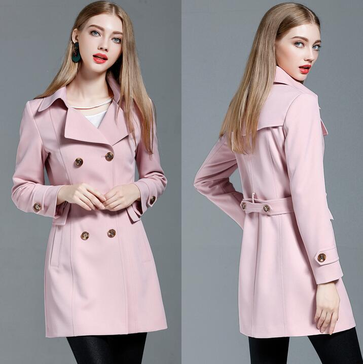 Trench   coats womens 2019 spring autumn fashion double breasted slim   trench   coat female fashion long-sleeve outerwear plus size