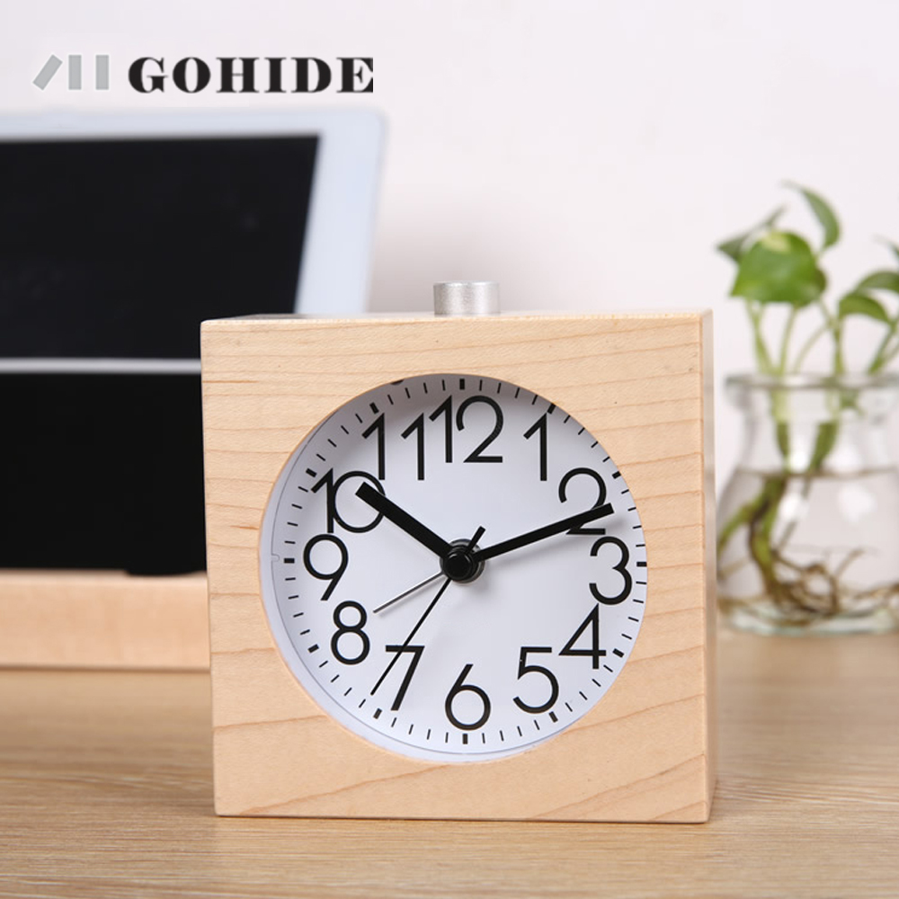 JUH A Wooden Lovely Alarm Clock Bedroom Alarm Clock Snooze Mute Luminous  Fashion Student Personality Clock Square Sharp 81463 In Alarm Clocks From  Home ...