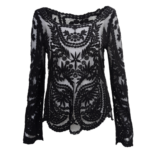 c34dacf2719707 IMC Semi Sexy Sheer Sleeve Embroidery Floral Lace Crochet Tee Top T shirt  Vintage (Black)