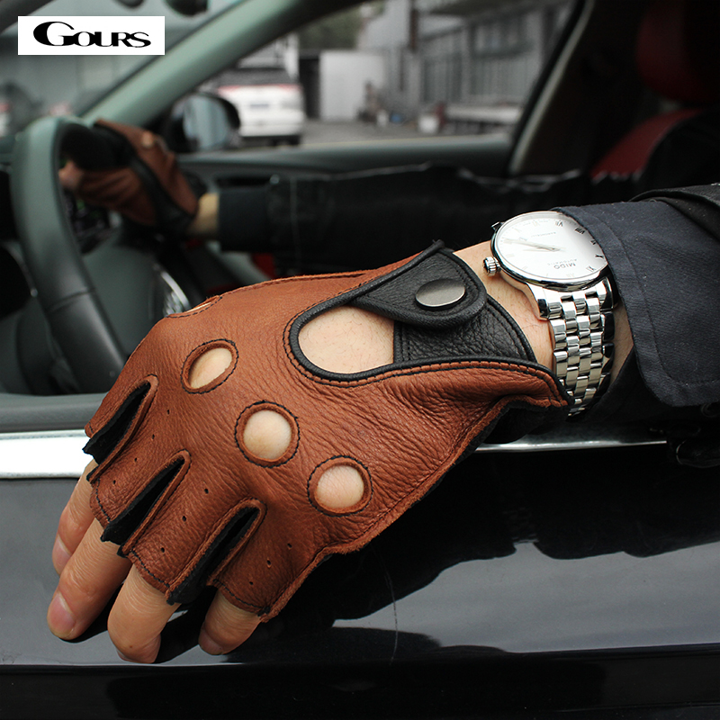 Gours frühling männer echtes leder handschuhe driving ungefüttert 100% hirschleder halbe fingerhandschuhe fingerlose gym fitness handschuhe m046l