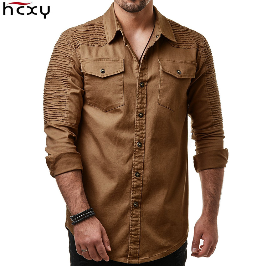 HCXY 2019 Autumn Men's Jean Shirt Big Size Men Long Sleeve Denim Shirts Washed Long-sleeved Jean Shirts Fold Decoration