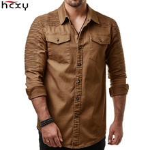 HCXY 2019 Autumn Mens Jean Shirt big size Men Long sleeve Denim Shirts Washed Long sleeved Jean Shirts fold decoration