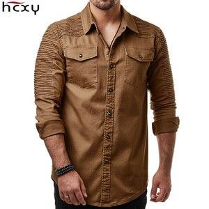 Image 1 - Hcxy 2019 秋男性のジーンズシャツビッグサイズ男性長袖デニムシャツ洗浄長袖のジーンズのシャツ倍の装飾