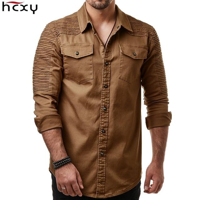 Hcxy 2019 秋男性のジーンズシャツビッグサイズ男性長袖デニムシャツ洗浄長袖のジーンズのシャツ倍の装飾