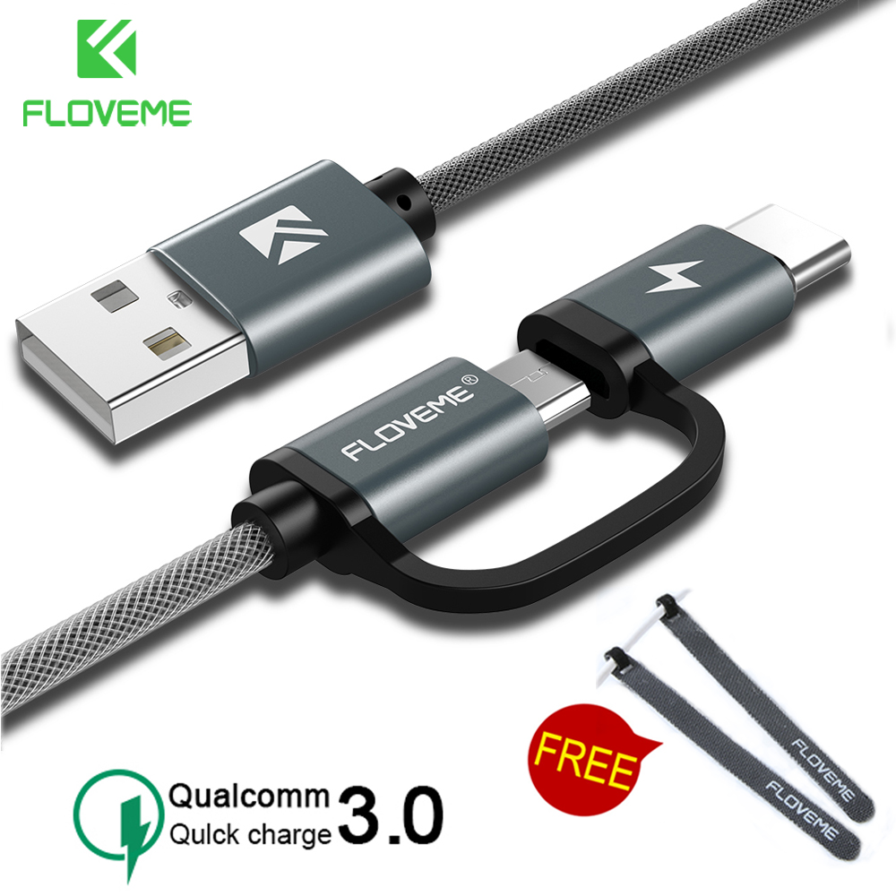 FLOVEME QC3.0 USB Type C Cable for Samsung Galaxy Note 9 S9 2.8A Micro USB Cable 2 in